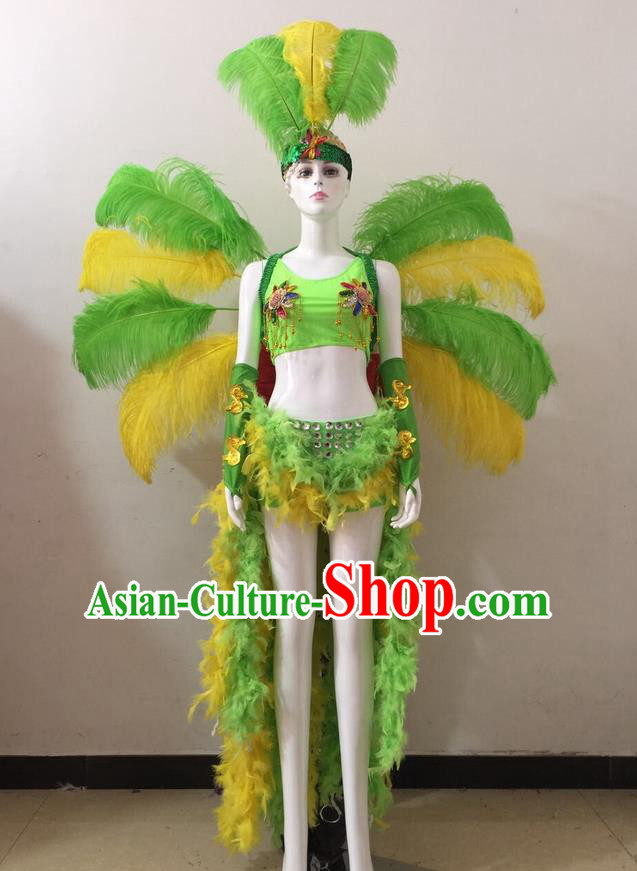 Top Grade Professional Performance Catwalks Green and Yellow Feather Bikini and Headwear Wings, Brazilian Rio Carnival Samba Opening Dance Swimsuit Clothing for Women