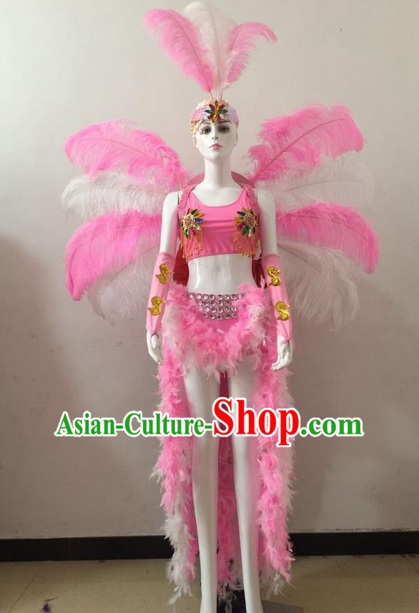Top Grade Professional Performance Catwalks Pink Feather Bikini and Headwear Wings, Brazilian Rio Carnival Samba Opening Dance Swimsuit Clothing for Women