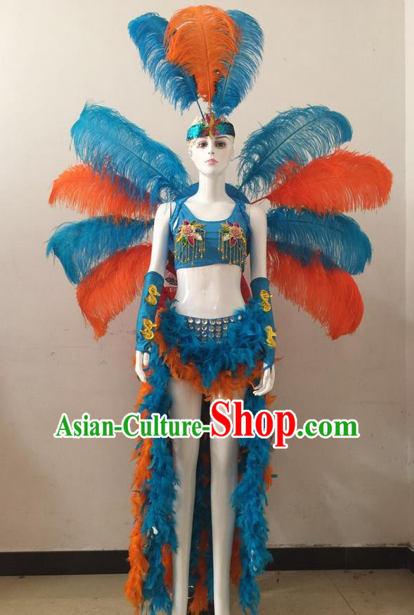 Top Grade Professional Performance Catwalks Blue Feather Bikini and Headwear Wings, Brazilian Rio Carnival Samba Opening Dance Swimsuit Clothing for Women