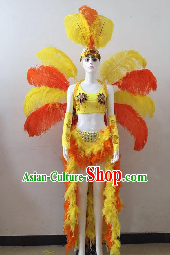Top Grade Professional Performance Catwalks Yellow and Orange Feather Bikini and Headwear Wings, Brazilian Rio Carnival Samba Opening Dance Swimsuit Clothing for Women