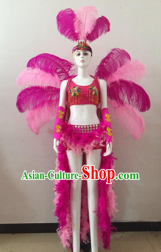 Top Grade Professional Performance Catwalks Rosy and Pink Feather Bikini and Headwear Wings, Brazilian Rio Carnival Samba Opening Dance Swimsuit Clothing for Women