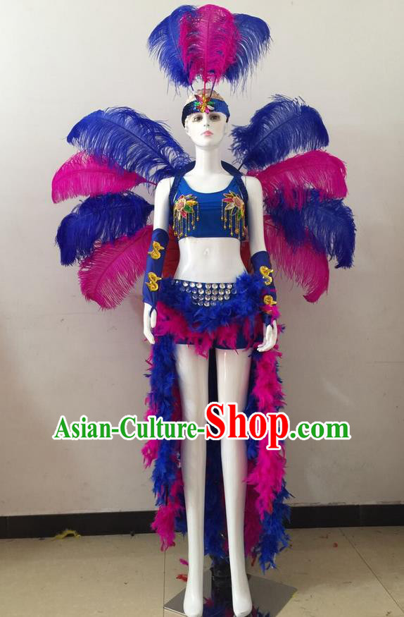 Top Grade Professional Performance Catwalks Rosy and Blue Feather Bikini and Headwear Wings, Brazilian Rio Carnival Samba Opening Dance Swimsuit Clothing for Women