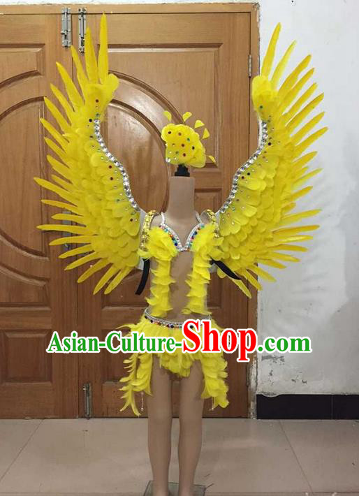Top Grade Professional Performance Catwalks Bikini and Yellow Feathers Wings, Brazilian Rio Carnival Samba Opening Dance Swimsuit Clothing for Girls