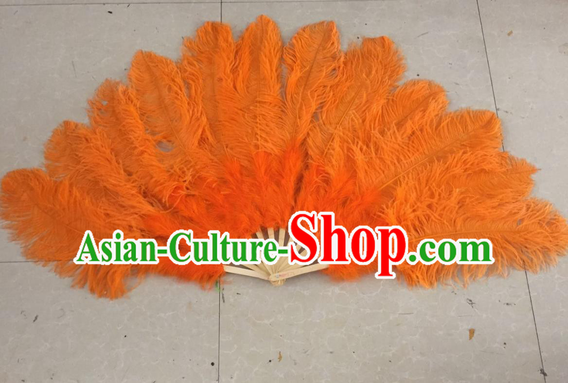 Top Grade Professional Performance Catwalks Orange Feather Big Fans, Brazilian Rio Carnival Parade Samba Dance Folding Fans