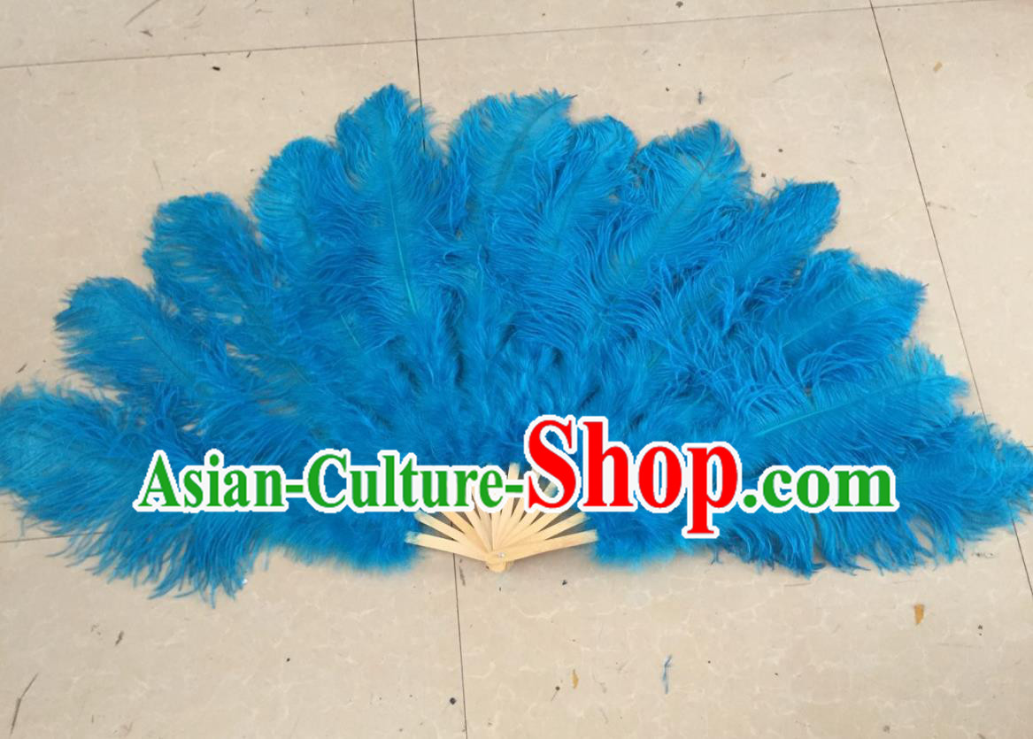 Top Grade Professional Performance Catwalks Blue Feather Big Fans, Brazilian Rio Carnival Parade Samba Dance Folding Fans