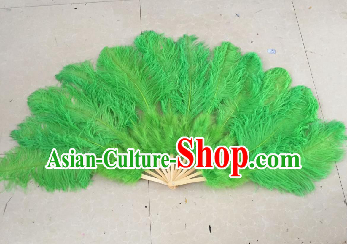 Top Grade Professional Performance Catwalks Green Feather Big Fans, Brazilian Rio Carnival Parade Samba Dance Folding Fans