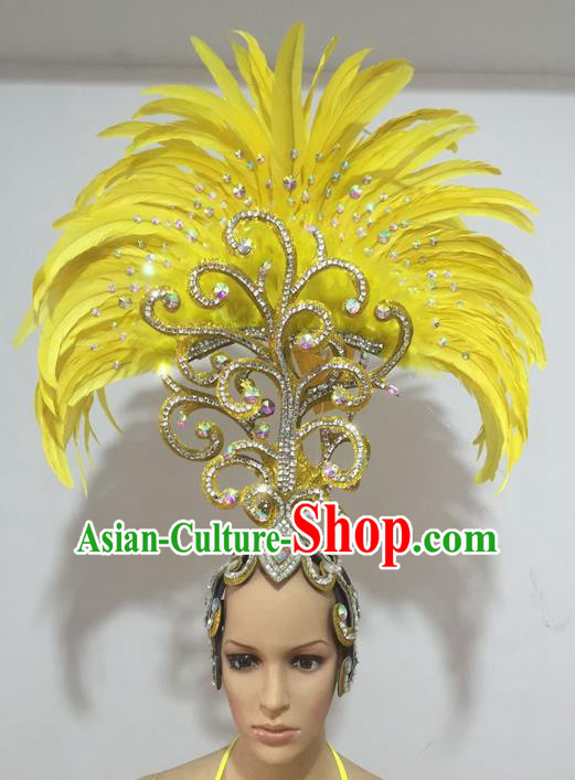 Top Grade Professional Performance Catwalks Yellow Feathers Hair Accessories, Brazilian Rio Carnival Parade Samba Dance Headdress for Women