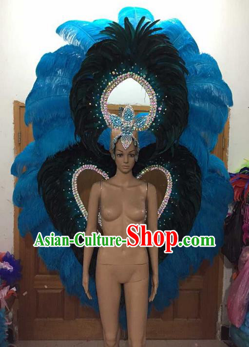 Top Grade Compere Professional Performance Catwalks Blue Feathers Wings and Headwear, Brazilian Rio Carnival Samba Opening Dance Modern Fancywork Feather Decorations for Women