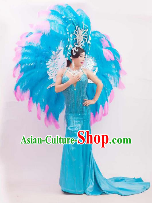 Top Grade Compere Professional Performance Catwalks Blue Feathers Wings and Headwear, Brazilian Rio Carnival Samba Opening Dance Modern Fancywork Feather Decorations