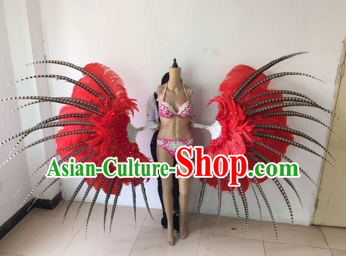 Top Grade Compere Professional Performance Catwalks Red Feathers Wings, Brazilian Rio Carnival Samba Opening Dance Modern Fancywork Feather Decorations for Women