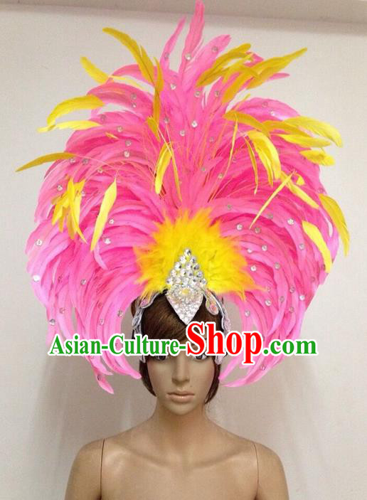 Top Grade Professional Performance Catwalks Feathers Decorations Big Hair Accessories, Brazilian Rio Carnival Parade Samba Dance Headpiece for Women