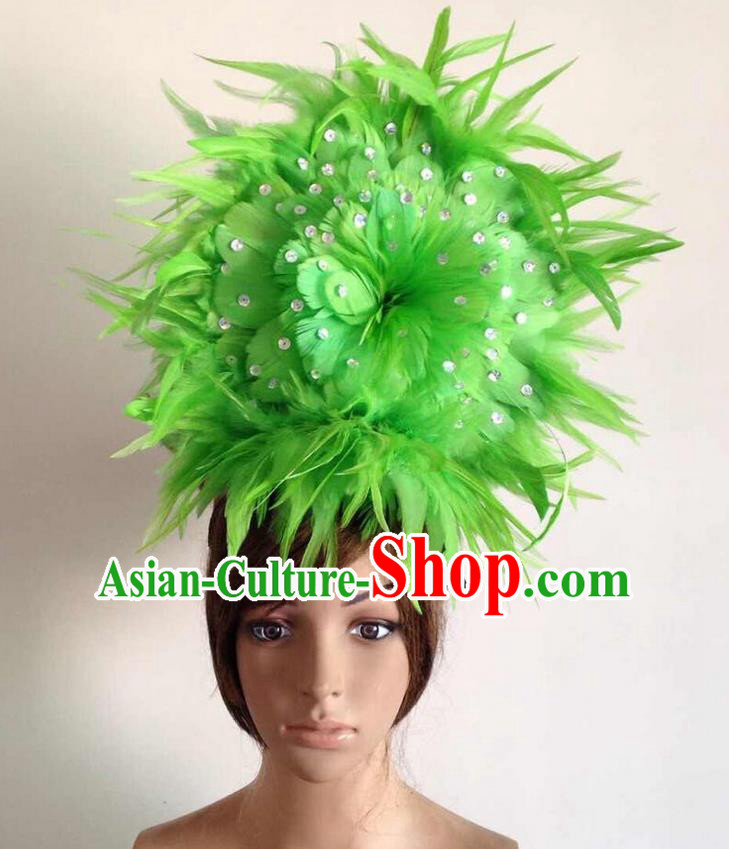 Top Grade Professional Performance Catwalks Green Feather Hair Accessories, Brazilian Rio Carnival Parade Samba Dance Headpiece for Women