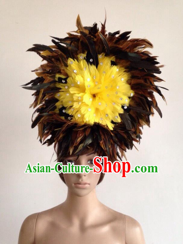 Top Grade Professional Performance Catwalks Yellow Feather Hair Accessories, Brazilian Rio Carnival Parade Samba Dance Headpiece for Women