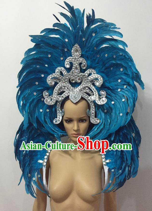 Top Grade Professional Performance Catwalks Opening Dance Blue Feather Big Hair Accessories, Brazilian Rio Carnival Parade Samba Dance Headpiece for Women