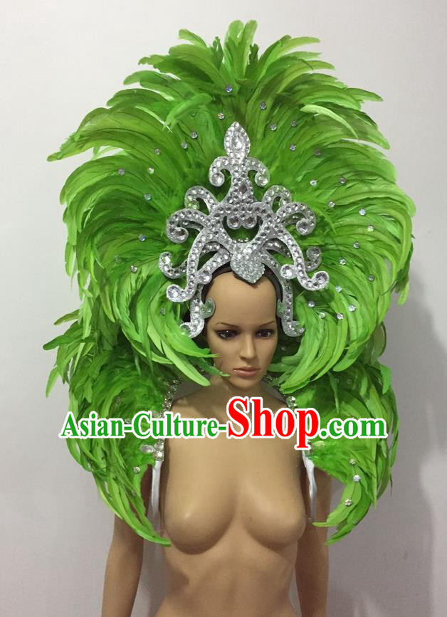 Top Grade Professional Performance Catwalks Opening Dance Green Feather Big Hair Accessories, Brazilian Rio Carnival Parade Samba Dance Headpiece for Women