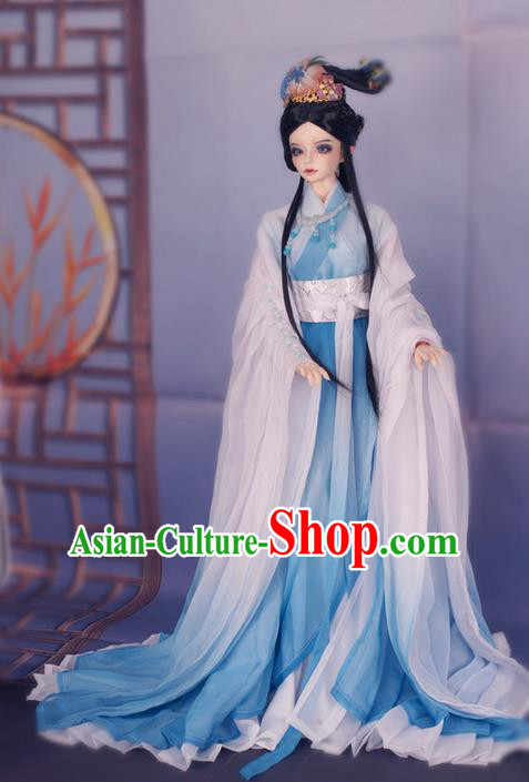 Top Grade Traditional China Ancient Female Fairy Costumes Complete Set, China Ancient Cosplay Tang Dynasty Princess Blue Dress Hanfu Clothing for Adults and Kids