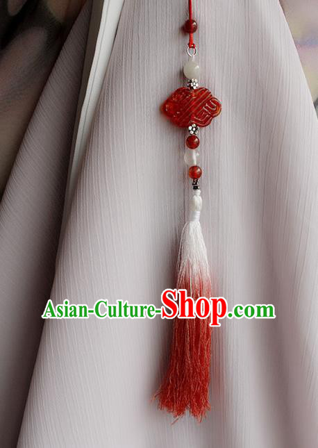 Top Grade Traditional China Ancient Palace Red Jade Accessories Pendant, China Ancient Swordsman Tassel Waist Pendant