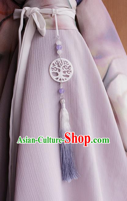 Top Grade Traditional China Ancient Palace Lady Round Jade Accessories Pendant, China Ancient Swordsman Red Tassel Waist Pendant
