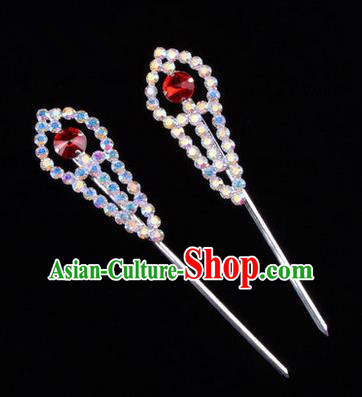 Chinese Ancient Peking Opera Head Accessories Young Lady Diva Colorful Crystal Headwear Red Hairpins, Traditional Chinese Beijing Opera Hua Tan Head-ornaments