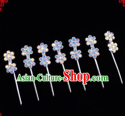 Chinese Ancient Peking Opera Head Accessories Young Lady Diva Colorful Crystal Headwear Wintersweet Hairpins Complete Set, Traditional Chinese Beijing Opera Hua Tan Head-ornaments