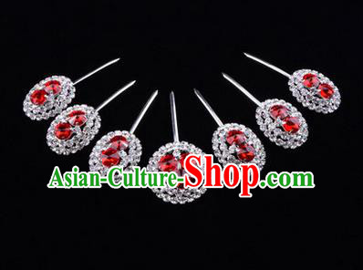Chinese Ancient Peking Opera Head Accessories Young Lady Diva Crystal Red Hairpins Complete Set, Traditional Chinese Beijing Opera Hua Tan Hair Clasp Head-ornaments