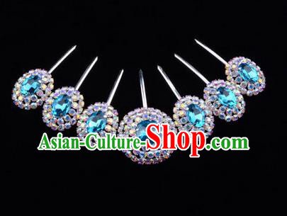 Chinese Ancient Peking Opera Head Accessories Young Lady Diva Colorful Crystal Blue Hairpins Complete Set, Traditional Chinese Beijing Opera Hua Tan Hair Clasp Head-ornaments