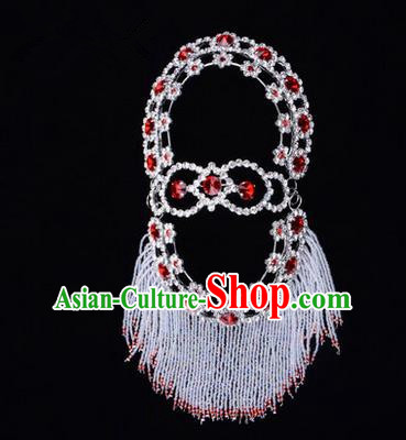 Chinese Ancient Peking Opera Head Accessories Young Lady Diva Red Crystal Hairpins Back Temples Curtain, Traditional Chinese Beijing Opera Hua Tan Hair Clasp Head-ornaments