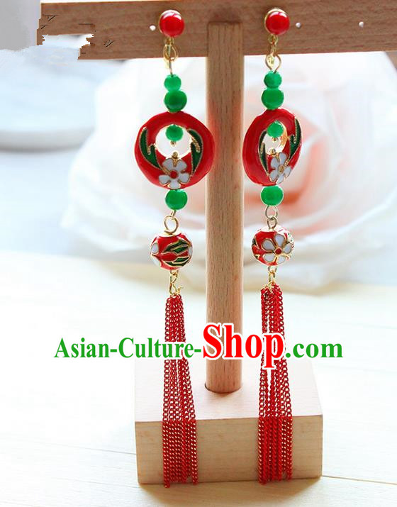 Top Grade Handmade Wedding Bride Accessories Earrings, Traditional Princess Wedding Colored Glaze Eardrop for Women