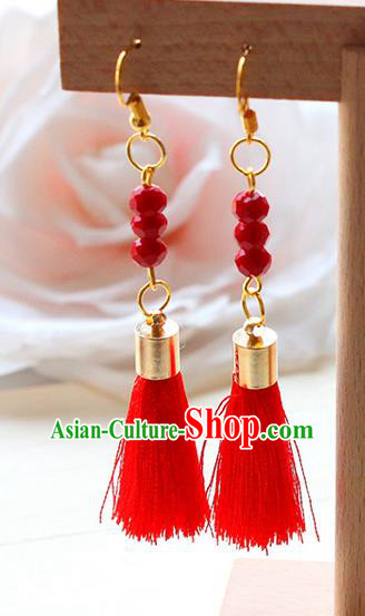 Top Grade Handmade Wedding Bride Accessories Earrings, Traditional Princess Wedding Red Beads Eardrop for Women