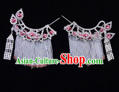 Chinese Ancient Peking Opera Head Accessories Diva Pink Crystal Tassel Hairpins Temples Curtain, Traditional Chinese Beijing Opera Princess Hua Tan Hair Clasp Head-ornaments
