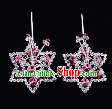 Chinese Ancient Peking Opera Head Accessories Diva Pink Crystal Hexagonal Hairpins, Traditional Chinese Beijing Opera Princess Hua Tan Hair Clasp Head-ornaments