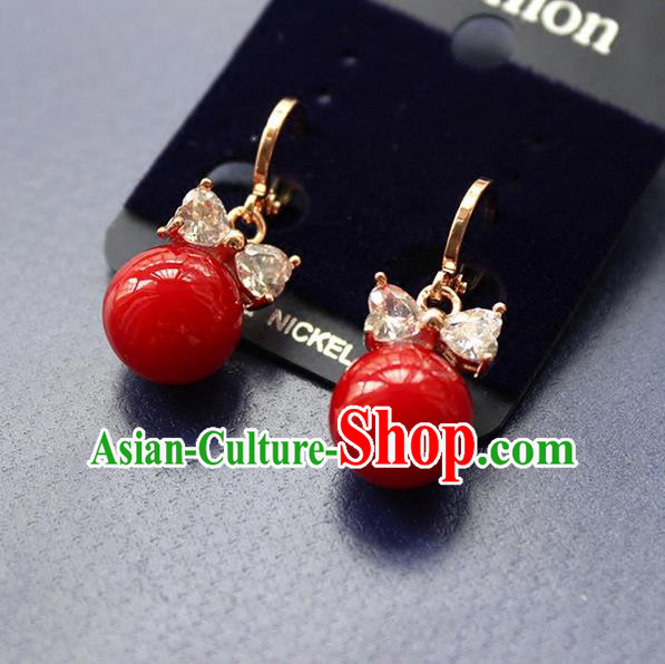 Top Grade Handmade Wedding Bride Accessories Red Earrings, Traditional Princess Baroque Ziron Wedding Eardrop for Women