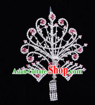 Chinese Ancient Peking Opera Head Accessories Diva Pink Tassel Crystal Phoenix Hairpins Step Shake, Traditional Chinese Beijing Opera Princess Hua Tan Hair Clasp Head-ornaments