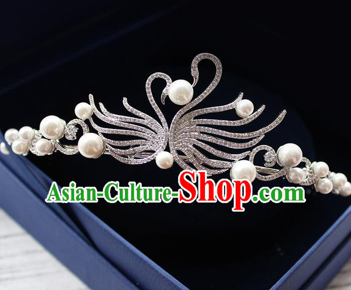 Top Grade Handmade Wedding Bride Hair Accessories Swan Zircon Crown, Traditional Baroque Queen Crystal Pearl Royal Crown Wedding Headpiece for Women