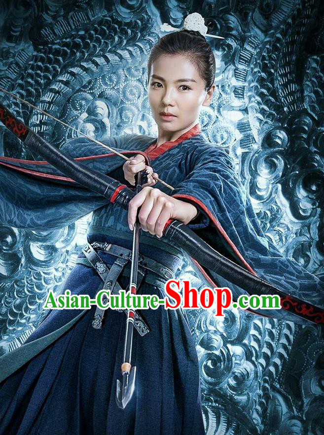 Traditional Ancient Chinese Three Kingdoms Period Female Swordsman Costume, The Advisors Alliance Chivalrous Women Clothing and Headpiece Complete Set