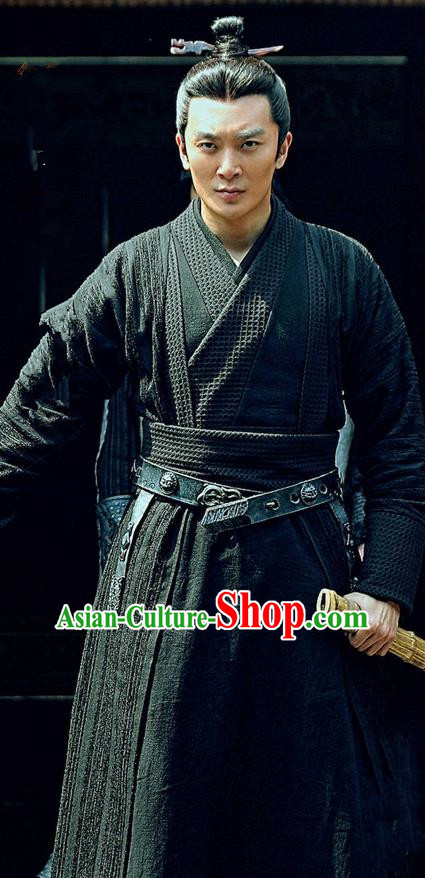 Traditional Ancient Chinese Three Kingdoms Period Swordsman Costume, The Advisors Alliance Assassin Clothing and Headpiece Complete Set