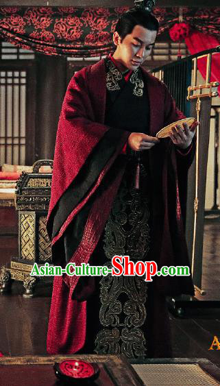 Traditional Ancient Chinese Three Kingdoms Period Prince Costume, The Advisors Alliance Nobility Childe Robe Clothing and Headpiece Complete Set