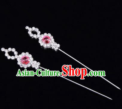 Chinese Ancient Peking Opera Head Accessories Diva Pink Crystal Hairpins, Traditional Chinese Beijing Opera Princess Hua Tan Hair Clasp Head-ornaments GuDuo Needle
