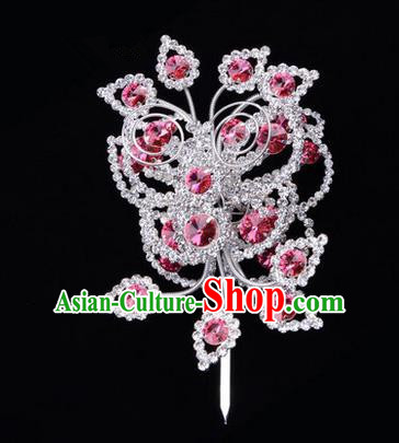 Chinese Ancient Peking Opera Head Accessories Diva Crystal Pink Poppyhead Hairpins, Traditional Chinese Beijing Opera Princess Hua Tan Hair Clasp Head-ornaments