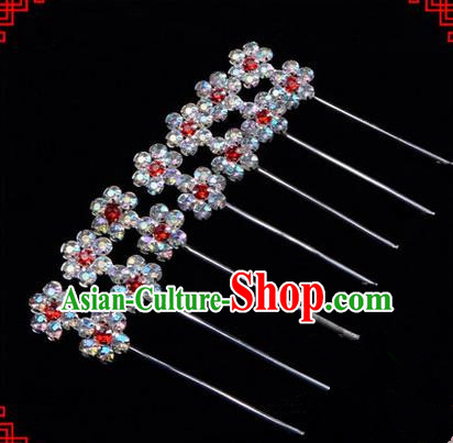 Chinese Ancient Peking Opera Head Accessories Diva Little Plum Blossom Crystal Hairpins, Traditional Chinese Beijing Opera Princess Hua Tan Hair Clasp Head-ornaments