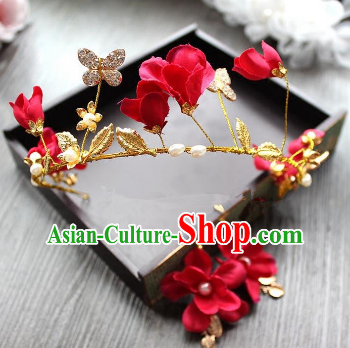 Top Grade Handmade Wedding Bride Hair Accessories Luxury Red Flowers Crown and Earrings, Traditional Baroque Princess Royal Crown Wedding Headwear for Women