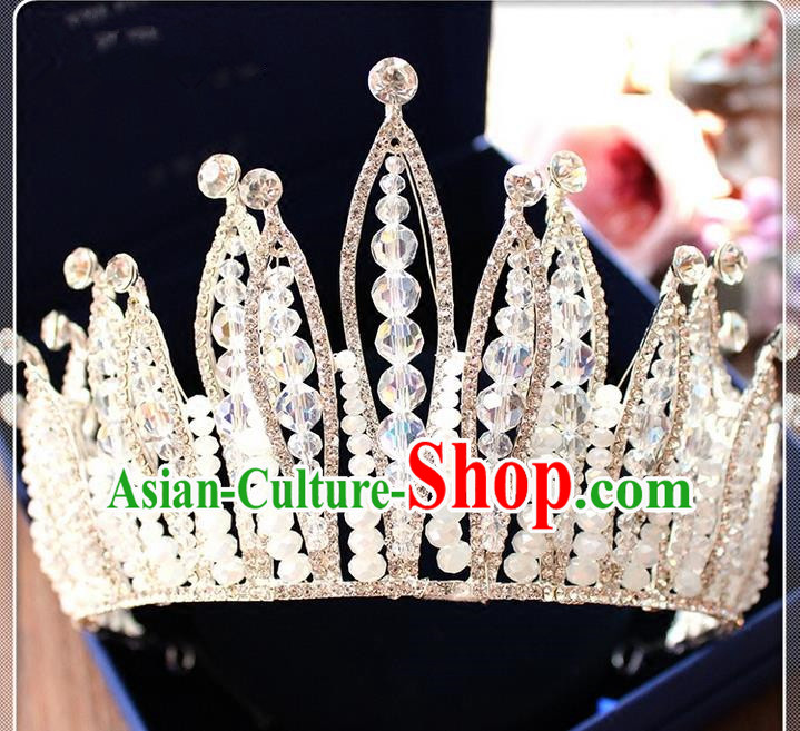 Top Grade Handmade Wedding Hair Accessories Bride Luxury Beads Crown, Traditional Baroque Crystal Royal Crown Wedding Headwear for Women
