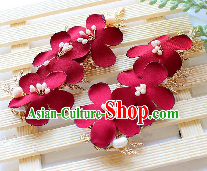 Top Grade Handmade Wedding Bride Hair Accessories Red Flowers Hair Clips, Traditional Princess Baroque Hair Claws Headpiece for Women