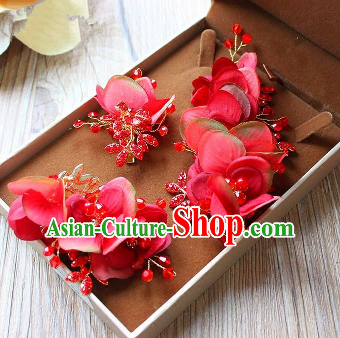 Top Grade Handmade Wedding Bride Hair Accessories Red Flowers Hairpin Hair Claw, Traditional Princess Baroque Crystal Hair Stick Headpiece for Women