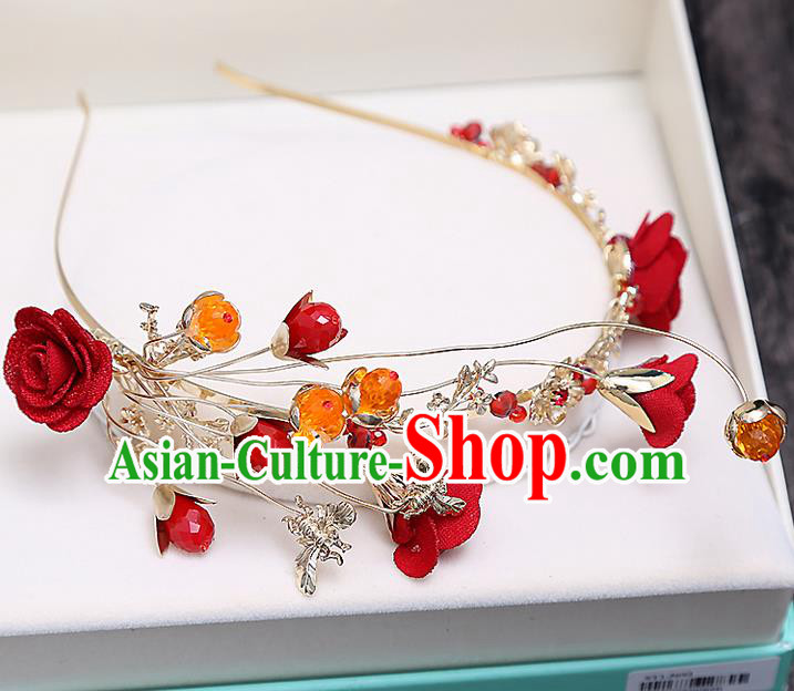 Top Grade Handmade Wedding Bride Hair Accessories Red Flowers Hair Claw Hairpins, Traditional Baroque Princess Hair Stick Headpiece for Women
