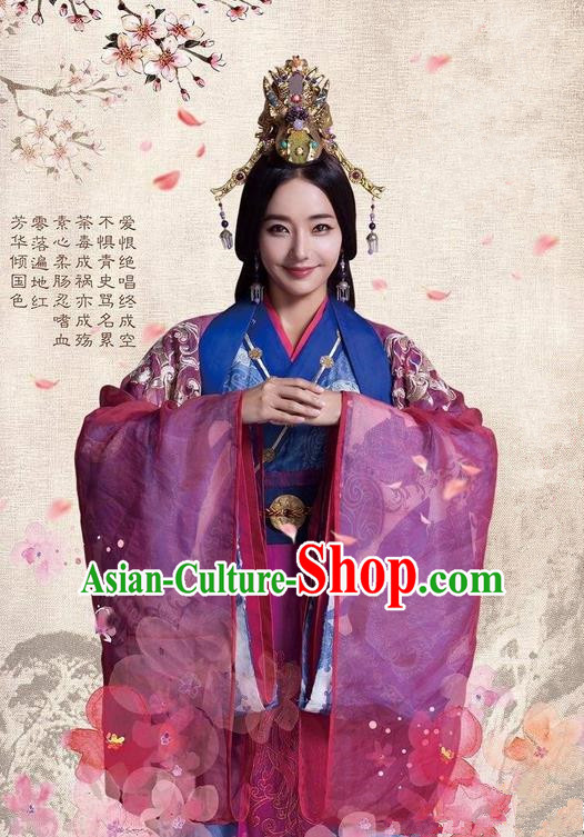 Traditional Ancient Chinese Imperial Consort Costume and Headpiece Complete Set, Chinese Chong Er Preach Chunqiu Period Imperial Concubine Embroidered Hanfu Clothing