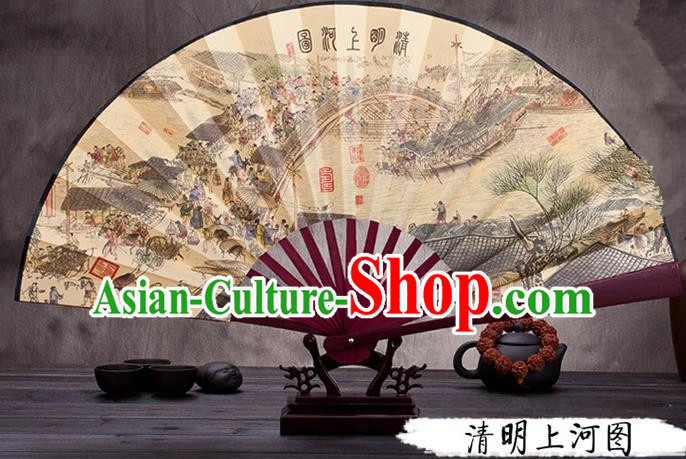Traditional Chinese Ancient Peking Opera Accessories Scholar Ink Painting Riverside Scene at Qingming Festival Fan, Traditional Chinese Beijing Opera Young Men Props Folding Fans