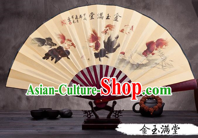 Traditional Chinese Ancient Peking Opera Accessories Scholar Ink Painting Goldfish Fan, Traditional Chinese Beijing Opera Young Men Props Folding Fans