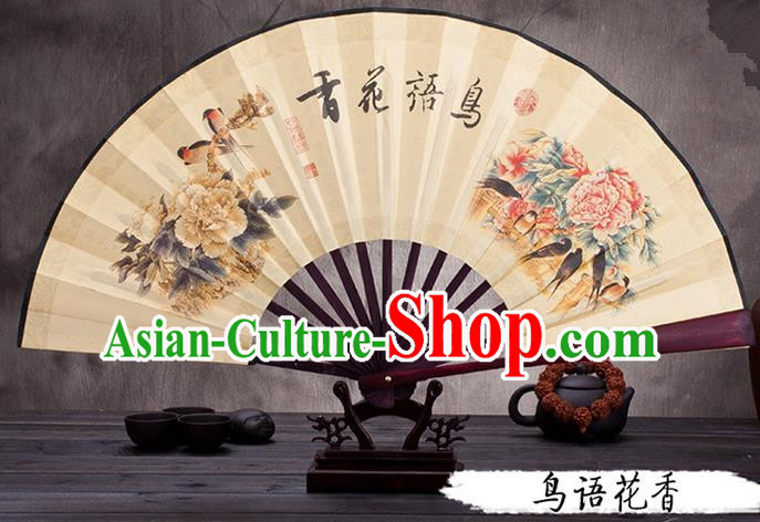 Traditional Chinese Ancient Peking Opera Accessories Scholar Ink Painting Flowers Bird Fan, Traditional Chinese Beijing Opera Young Men Props Folding Fans