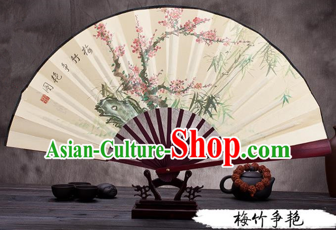 Traditional Chinese Ancient Peking Opera Accessories Scholar Ink Painting Plum and Bamboo Fan, Traditional Chinese Beijing Opera Young Men Props Folding Fans
